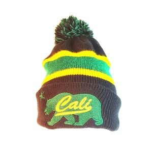 Other - Cali Bear Green and Yellow Beanie with Pom Hat